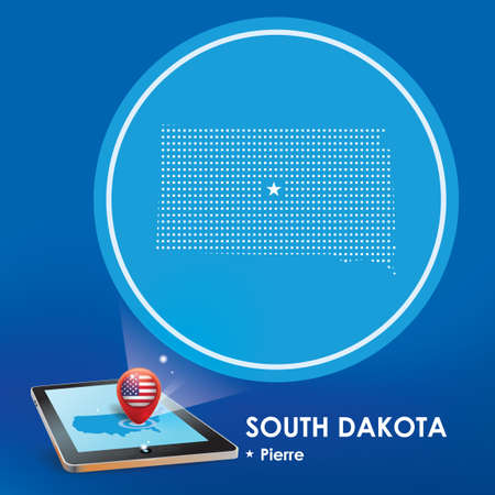 south dakota: Tablet pc with south dakota map projection