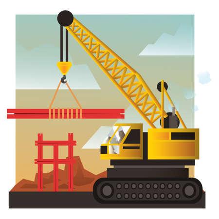 mobile crane: Mobile crane at construction site