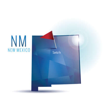 New mexico map with capital city Illustration
