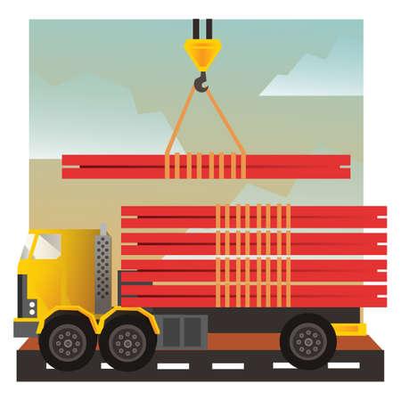 loading truck: Crane loading truck Illustration