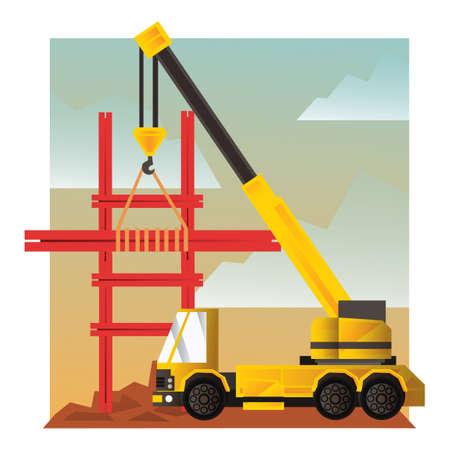 site: Crane truck at construction site