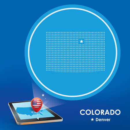 denver colorado: Tablet pc with colorado map projection