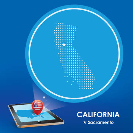 Tablet pc with california map projection