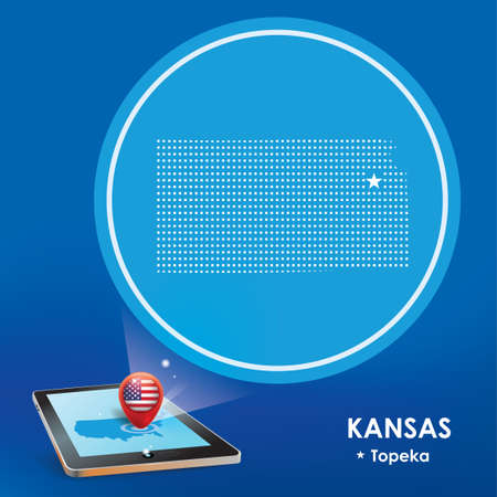 projections: Tablet pc with kansas map projection Illustration
