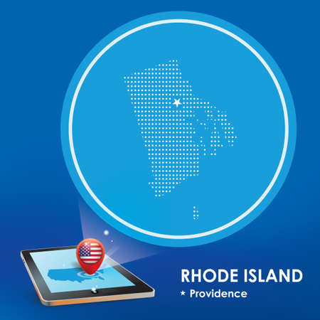 projections: Tablet pc with rhode island map projection