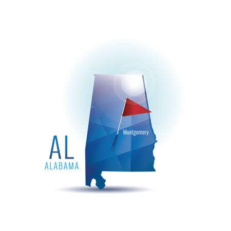 alabama: Alabama map with capital city