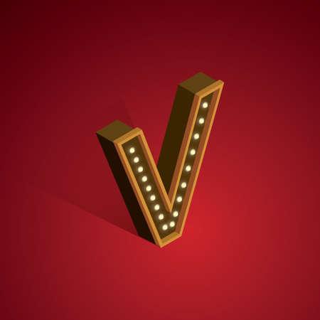 3 dimensional: Isometric alphabet V Illustration