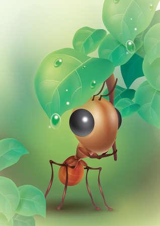 hormiga hoja: Hormiga bajo una hoja Vectores
