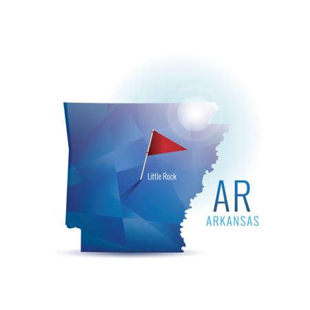 arkansas: Arkansas map with capital city Illustration
