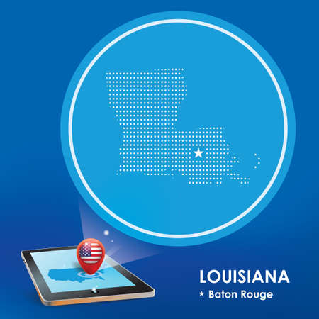 baton rouge: Tablet pc with louisiana map projection Illustration