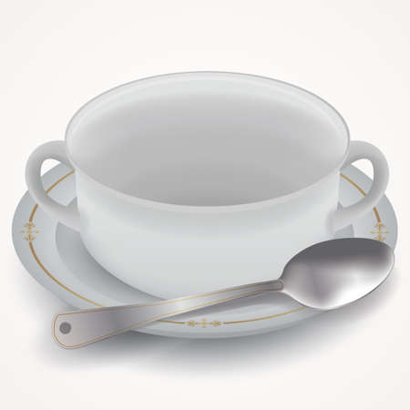 cup and saucer: Cup saucer and spoon Illustration