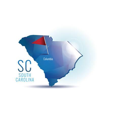 carolina: South carolina map with capital city Illustration