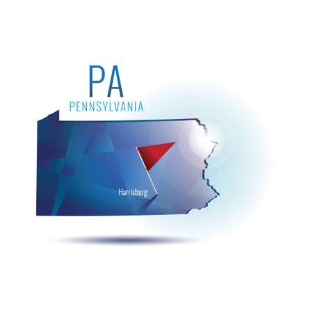 pennsylvania: Pennsylvania map with capital city Illustration