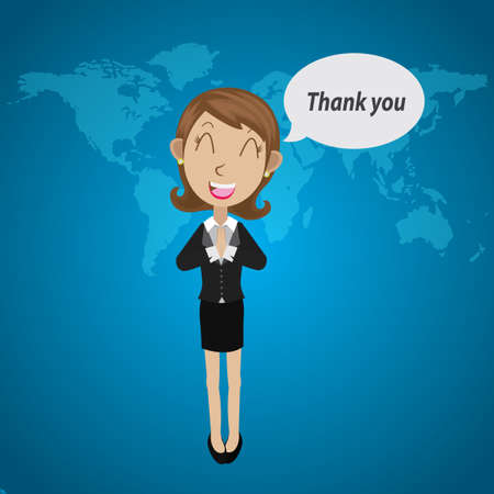 saying: Businesswoman saying thank you Illustration