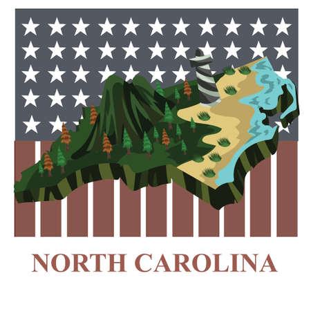 carolina: North carolina state map Illustration