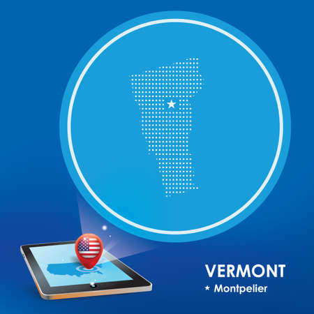projections: Tablet pc with vermont map projection Illustration