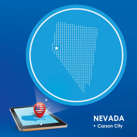 carson city: Tablet pc with nevada map projection Illustration