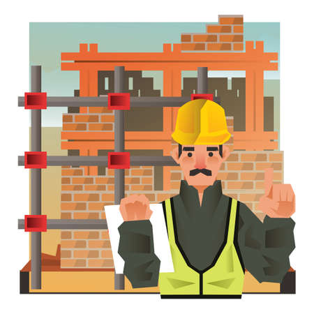 site: Construction worker at site Illustration