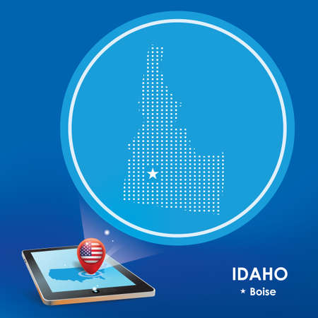 Tablet pc with idaho map projection
