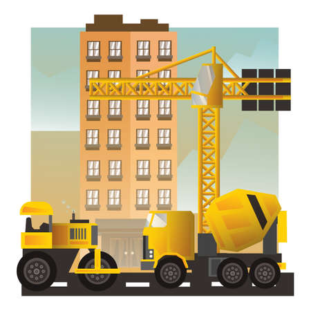 site: Vehicle at construction site Illustration