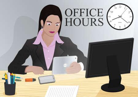smart woman: Woman using smart device in office