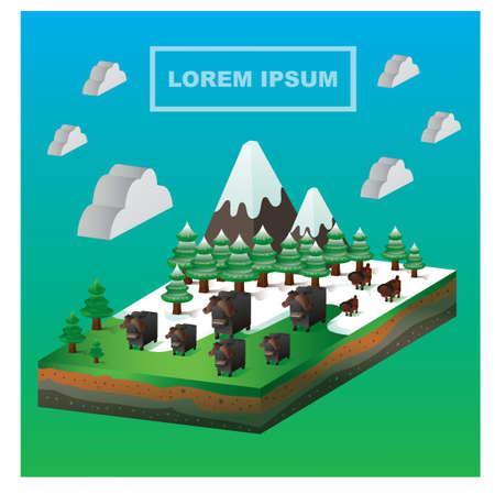 mouflon: Isometric farm Illustration