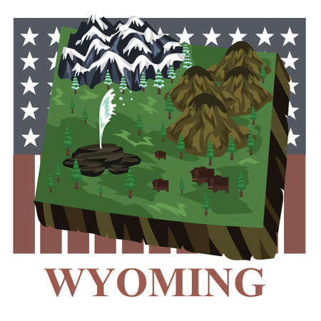 Wyoming state map 向量圖像