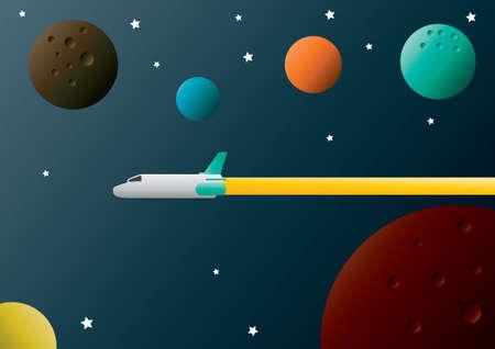 spacecraft: Spacecraft flying in space Illustration