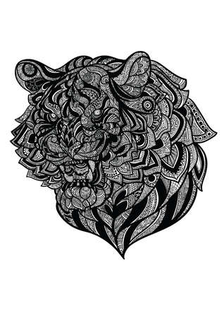 intricate: intricate tiger design