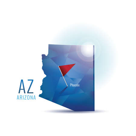 Arizona map with capital city Ilustração