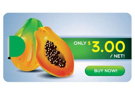papaya: Papaya on sale Illustration