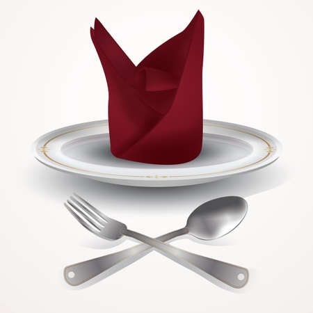 cleanliness: Plate and napkin with spoon and fork Illustration