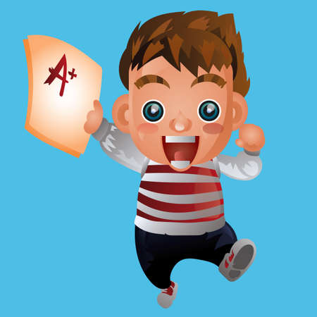 test paper: Boy holding test paper with A plus Illustration