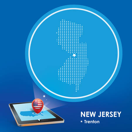 projection: Tablet pc with new jersey map projection Illustration