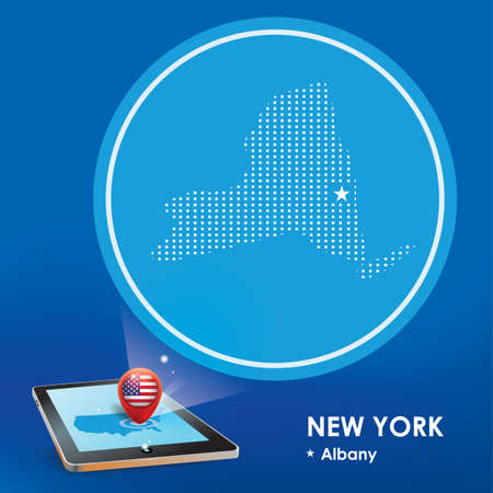 albany: Tablet pc with new york map projection