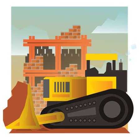 site: Bulldozer at construction site Illustration