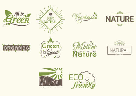 organic cotton: Collection of nature icons