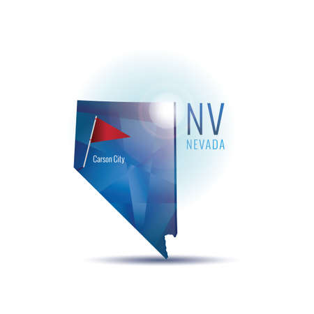 carson city: Nevada map with capital city