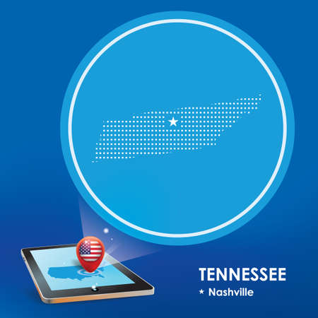 projection: Tablet pc with tennessee map projection Illustration
