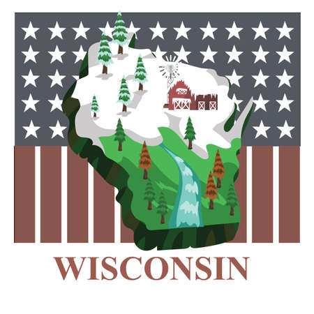 wisconsin flag: Wisconsin state map