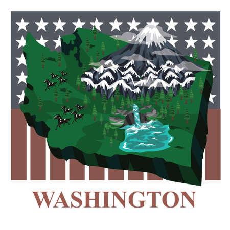 cascade mountains: Washington state map Illustration