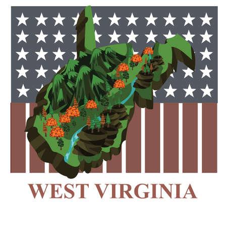 3d virginia: West virginia state map