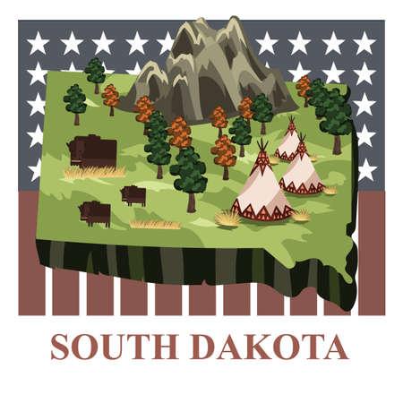 south dakota: South dakota state map Illustration