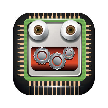 microprocessors: Processor and gears face Illustration