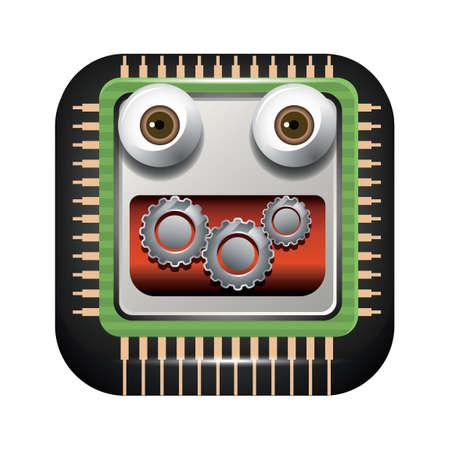 processor: Processor and gears face Illustration