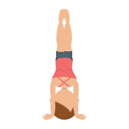Girl practicing yoga in headstand pose