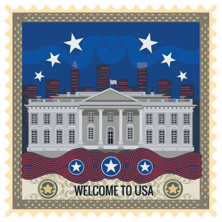 postage stamp: Welcome to usa postage stamp