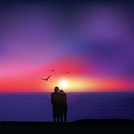 beach sunset: Couple seeing sunset at beach Illustration