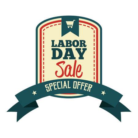 Labor day sale label Illustration