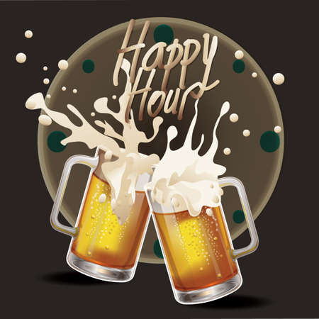 beer mugs: Splash of beer mugs Illustration